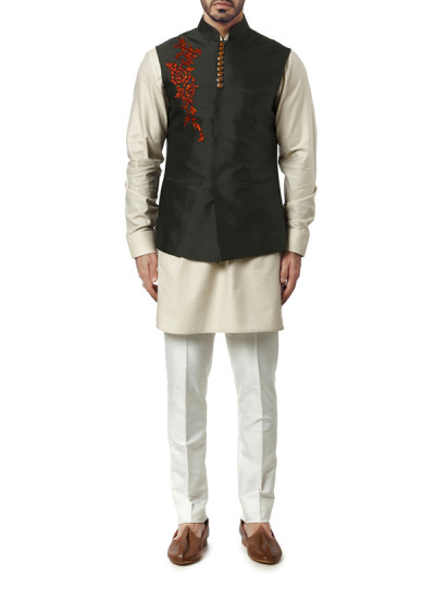Indian Fashion Designers - WYCI - Contemporary Indian Designer Clothes - Jackets - WYCI-AW15-WC-1 - Forest Green Nehruvian Jacket