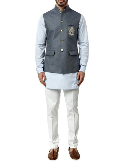Indian Fashion Designers - WYCI - Contemporary Indian Designer Clothes - Jackets - WYCI-AW15-WC-3 - Blue-Grey Linen Waistcoat