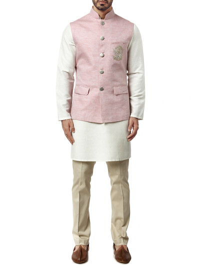 Indian Fashion Designers - WYCI - Contemporary Indian Designer Clothes - Jackets - WYCI-AW15-WC-4 - Denim Light Pink Waistcoat