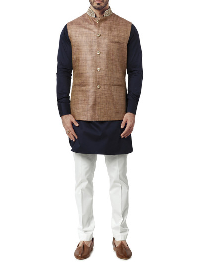 Indian Fashion Designers - WYCI - Contemporary Indian Designer Clothes - Jackets - WYCI-AW15-WC-5 - Brown and Pink Waistcoat