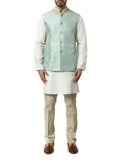 Indian Fashion Designers - WYCI - Contemporary Indian Designer Clothes - Jackets - WYCI-AW15-WC-6 - Mint Green Raw Silk Waistcoat