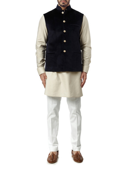 Indian Fashion Designers - WYCI - Contemporary Indian Designer Clothes - Jackets - WYCI-AW15-WC-8 - Navy Blue Velvet Waistcoat