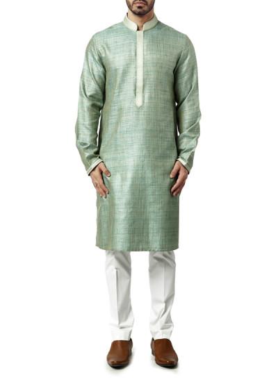 Indian Fashion Designers - WYCI - Contemporary Indian Designer Clothes - Kurtas - WYCI-AW15-KT-11 - Light Green Kurta