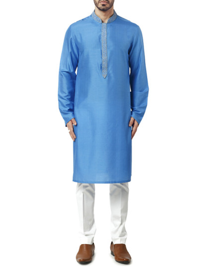 Indian Fashion Designers - WYCI - Contemporary Indian Designer Clothes - Kurtas - WYCI-AW15-KT-13 - Spun Silk Blue Kurta