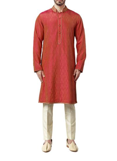 Indian Fashion Designers - WYCI - Contemporary Indian Designer Clothes - Kurtas - WYCI-AW15-KT-17 - Spun Silk Red Kurta