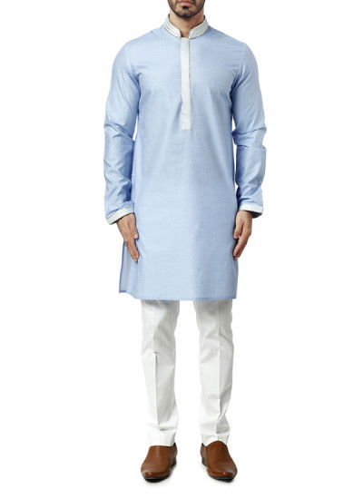 Indian Fashion Designers - WYCI - Contemporary Indian Designer Clothes - Kurtas - WYCI-AW15-KT-4 - Light Blue Kurta