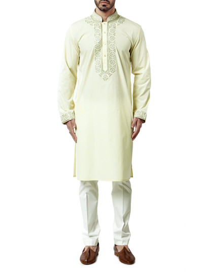 Indian Fashion Designers - WYCI - Contemporary Indian Designer Clothes - Kurtas - WYCI-AW15-KT-5 - Light Yellow Kurta