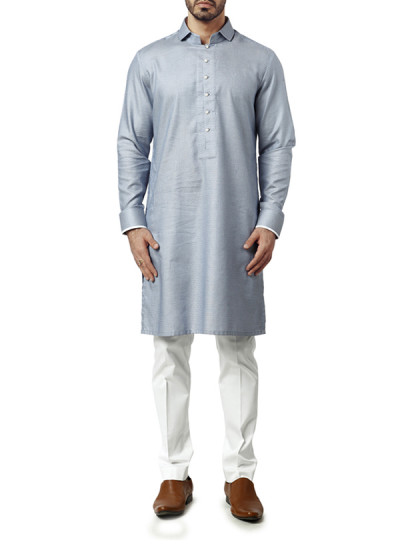 Indian Fashion Designers - WYCI - Contemporary Indian Designer Clothes - Kurtas - WYCI-AW15-KT-8 - Giza Linen Light Blue Kurta