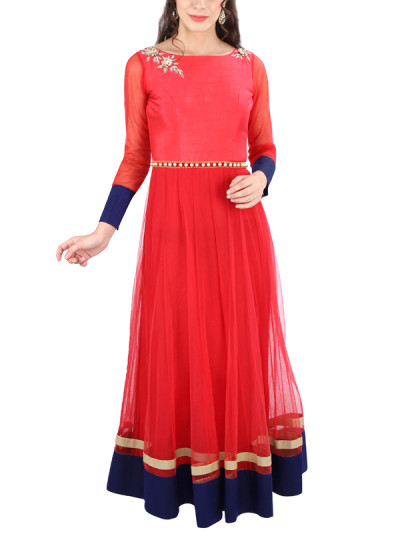 Indian Fashion Designers - Yosshita-Neha - Contemporary Indian Designer Clothes - Gowns - YN-SS15-YNG-009 - Tangerine Red and Navy Blue Gown