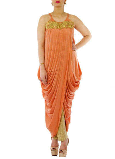 Indian Fashion Designers - Neehara - Contemporary Indian Designer - Peach Drape with Sequinned Pants - NH-SS16-NH-BT4