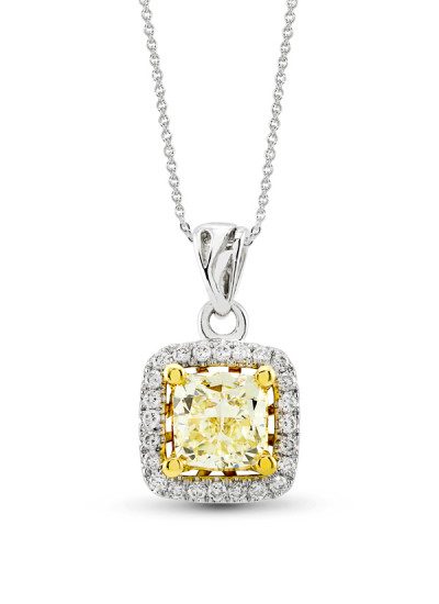 Indian Accessories Designers - Costar - Indian Fine Jewellery - Designer Neckalces - SOS-SS15-CJ-RP77777W - Yellow Diamond Pendant Necklace