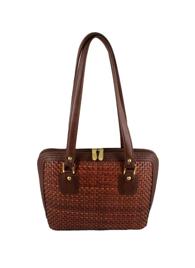 Indian Accessories Designers - Images Bags - Indian Designer Bags - IMG-AW14-L496 Brick - Leather Hand Woven Chattai Bag
