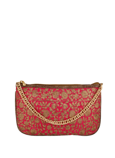 Indian Accessories Designers - Images Bags - Indian Designer Bags - IMG-AW14-S1350-SP - Pink Embroidered Wristlet
