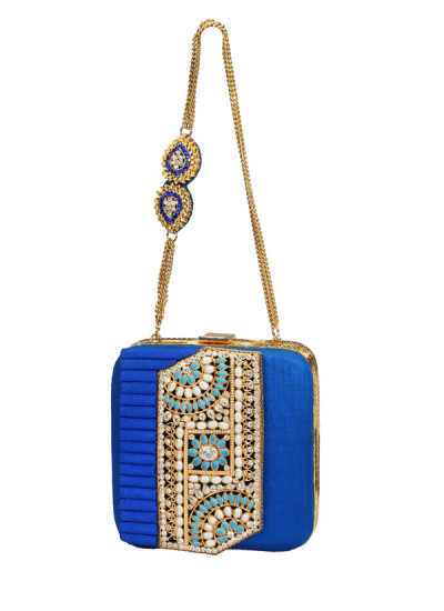Indian Accessories Designers - Meera Mahadevia - Indian Designer Bags - MM-AW15-MM-BB-COU-040 - Dazzling Blue Clutch