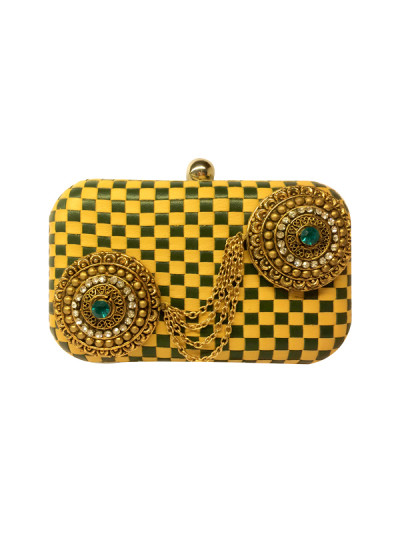 Indian Accessories Designers - Meera Mahadevia - Indian Designer Bags - MM-AW15-MM-Fe-BB-CL-024 - Green and Mustard Clutch