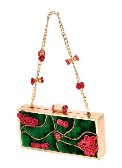 Indian Accessories Designers - Meera Mahadevia - Indian Designer Bags - MM-SS14-MM-CL-013 - Stunning Floral Design Clutch