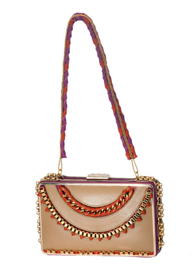 Indian Accessories Designers - Meera Mahadevia - Indian Designer Bags - MM-SS14-MM-CL-023 - Pretty Metal Chained Clutch