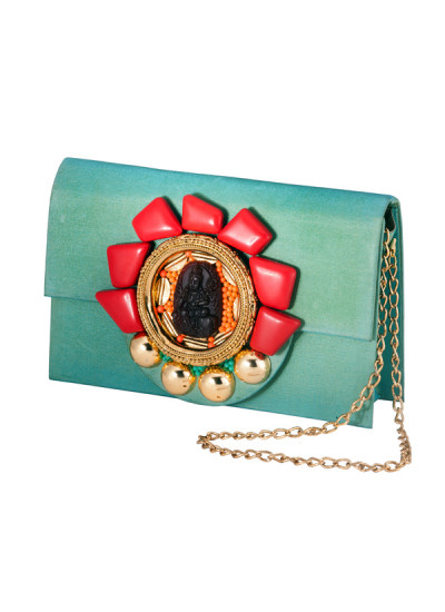 Indian Accessories Designers - Meera Mahadevia - Indian Designer Bags - MM-SS14-MM-CL-044 - Turquoise Raw Silk Clutch