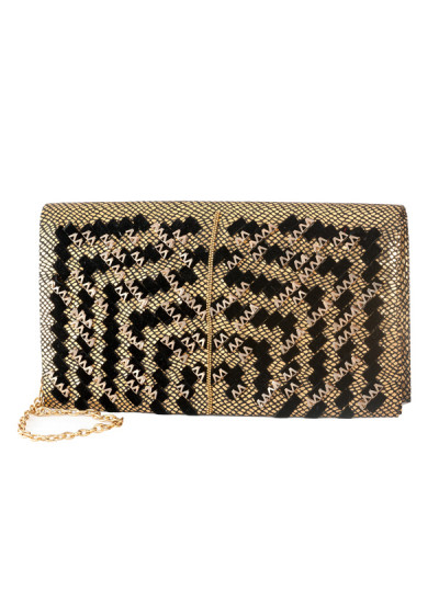 Indian Accessories Designers - Meera Mahadevia - Indian Designer Bags - MM-SS14-MM-CL-046 - Alluring Black and Gold Clutch