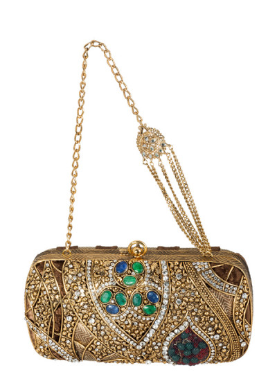 Indian Accessories Designers - Meera Mahadevia - Indian Designer Bags - MM-SS14-MM-COU-003 - Opulent Intricately Detailed Clutch
