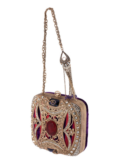 Indian Accessories Designers - Meera Mahadevia - Indian Designer Bags - MM-SS14-MM-COU-006 - Stunning Gold Polished Metal Work Clutch