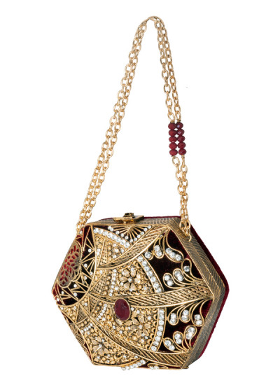 Indian Accessories Designers - Meera Mahadevia - Indian Designer Bags - MM-SS14-MM-COU-016 - Exquisitely Detailed Hexagon Clutch