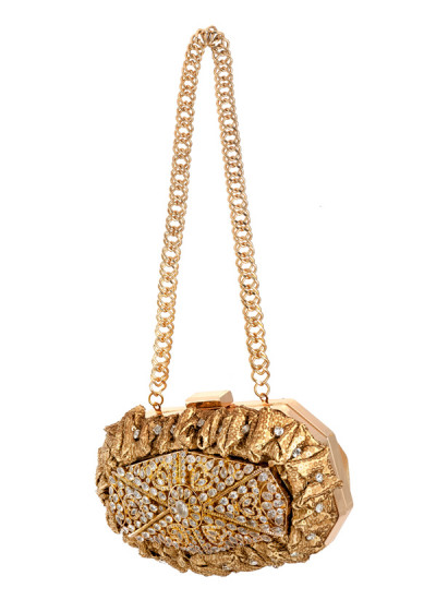 Indian Accessories Designers - Meera Mahadevia - Indian Designer Bags - MM-SS14-MM-COU-021 - Alluring Golden Kundan Work Clutch