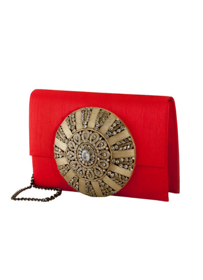 Indian Accessories Designers - Meera Mahadevia - Indian Designer Bags - MM-SS14-MM-COU-023 - Stylish and Chic Red Raw Silk Clutch