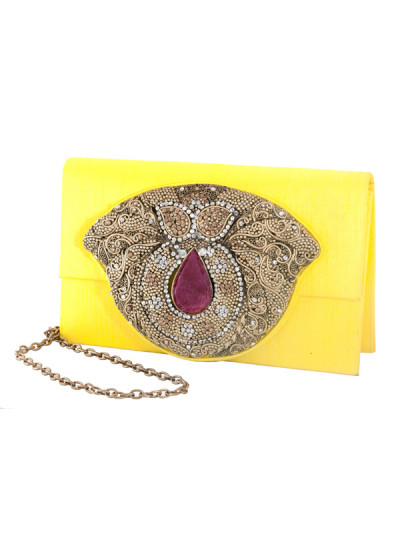 Indian Accessories Designers - Meera Mahadevia - Indian Designer Bags - MM-SS14-MM-COU-027 - Striking Yellow Raw Silk Clutch