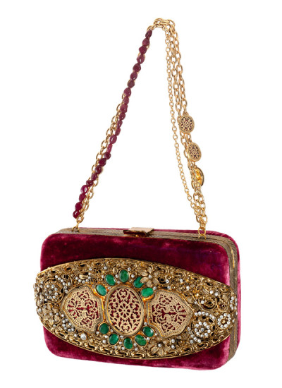 Indian Accessories Designers - Meera Mahadevia - Indian Designer Bags - MM-SS14-MM-COU-030 - Opulent Maroon Clutch