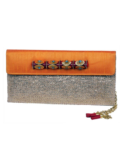 Indian Accessories Designers - Meera Mahadevia - Indian Designer Bags - MM-SS15-MM-QE-CL-004 - Gold Jute and Raw Silk Clutch