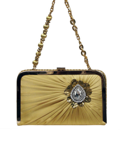 Indian Accessories Designers - Meera Mahadevia - Indian Designer Bags - MM-SS15-MM-QE-CL-005 - Gold Pleated Satin Clutch