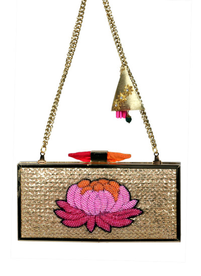 Indian Accessories Designers - Meera Mahadevia - Indian Designer Bags - MM-SS15-MM-QE-CL-029 - Beaded Ombre Flower Clutch