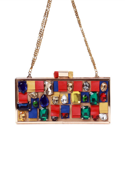 Indian Accessories Designers - Meera Mahadevia - Indian Designer Bags - MM-SS15-MM-QE-CL-041 - Multicolour Stone Encrusted Clutch