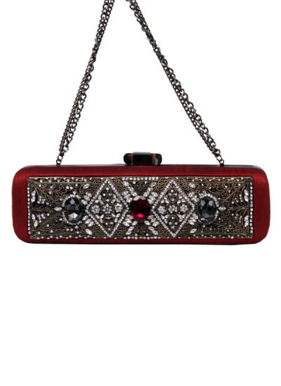 Indian Accessories Designers - Meera Mahadevia - Indian Designer Bags - MM-SS15-MM-QE-COU-018 - Dazzling Red Studded Clutch