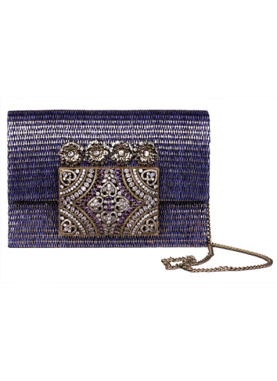 Indian Accessories Designers - Meera Mahadevia - Indian Designer Bags - MM-SS15-MM-QE-COU-019 - Polki Work Jute Clutch