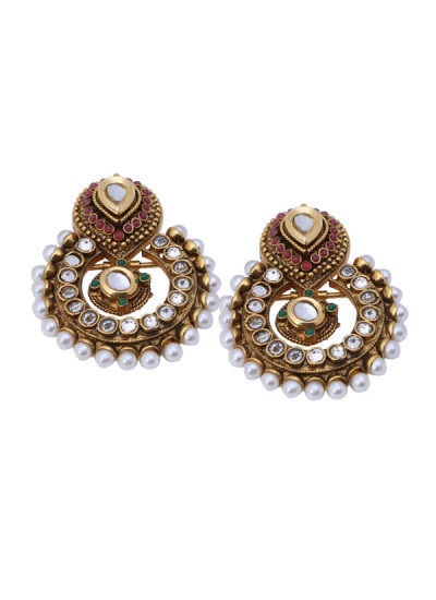 Indian Accessories Designers - Shillpa Purii - Indian Designer Jewellery - Designer Earrings - SHP-SS15-SK-5 - Antique Finish Kundan Earrings
