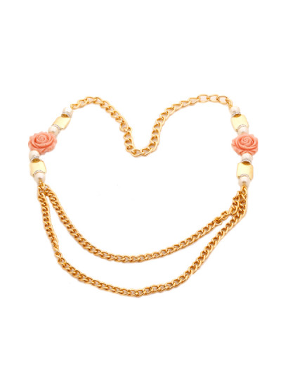 Indian Accessories Designers - Shillpa Purii - Indian Designer Jewellery - Designer Necklaces - SHP-SS15-SM-2 - Pink Rose Golden Necklace