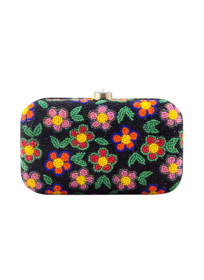 Indian Accessories Designers - The Purple Sack - Indian Designer Bags - TPS-AW15-TPS395 - Flower Mania Clutch