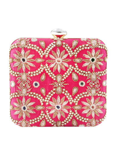 Indian Accessories Designers - The Purple Sack - Indian Designer Bags - TPS-AW15-TPS420 - Festive Pink Zink Clutch