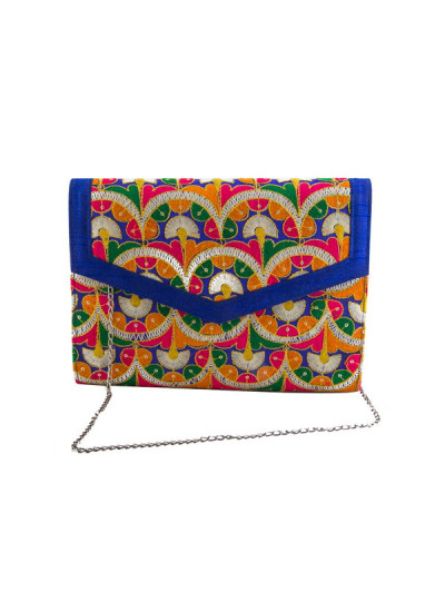 Indian Accessories Designers - The Purple Sack - Indian Designer Bags - TPS-SS15-TPS17 - Embroidered Fan Print Clutch