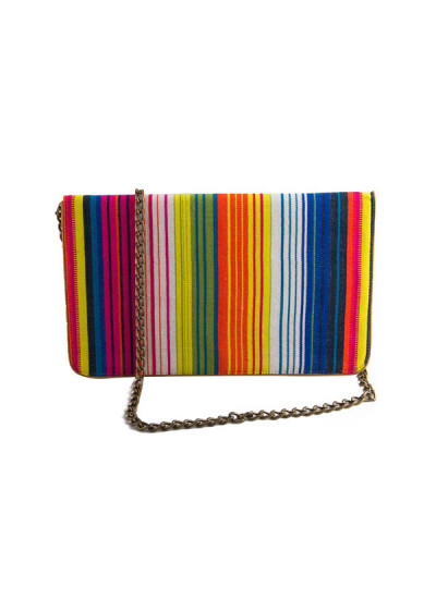 Indian Accessories Designers - The Purple Sack - Indian Designer Bags - TPS-SS15-TPS37 - Rainbow Colours Clutch