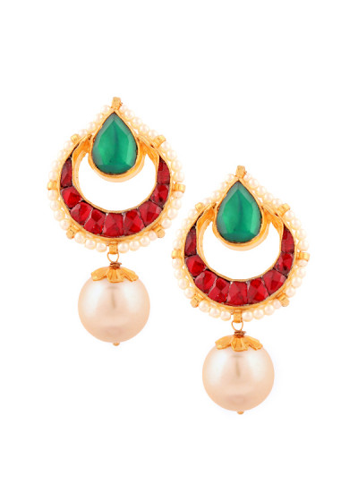 Indian Accessories Designers - Yosshita-Neha - Indian Designer Jewellery - Earrings - YN-SS15-EAR-471 - Striking Pearl Drop Earrings