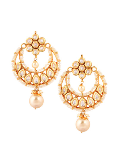 Indian Accessories Designers - Yosshita-Neha - Indian Designer Jewellery - Earrings - YN-SS15-EAR-472 - Crescent Shaped Chandelier Earrings