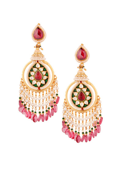 Indian Accessories Designers - Yosshita-Neha - Indian Designer Jewellery - Earrings - YN-SS15-EAR-478 - Ruby Red Drop Earrings