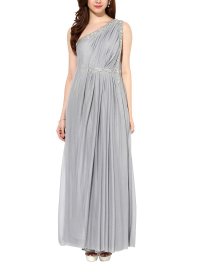 Indian Fashion Designers - House Of Trove - Contemporary Indian Designer - Gowns - HT-AW15-G002B - Smokey Platinum Off-shoulder Gown