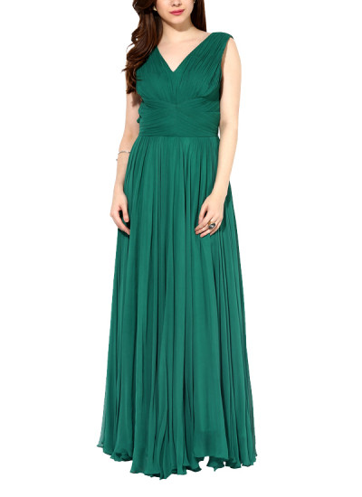 Indian Fashion Designers - House Of Trove - Contemporary Indian Designer - Gowns - HT-AW15-G005A - Emerald Green Draped Gown