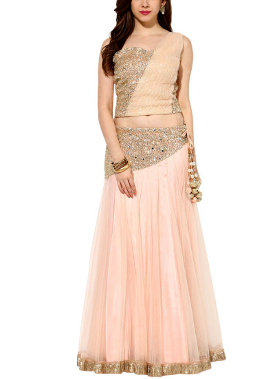 Indian Fashion Designers - House Of Trove - Contemporary Indian Designer - Lehangas - HT-AW15-L002 - Gorgeous Misty Rose Lehenga