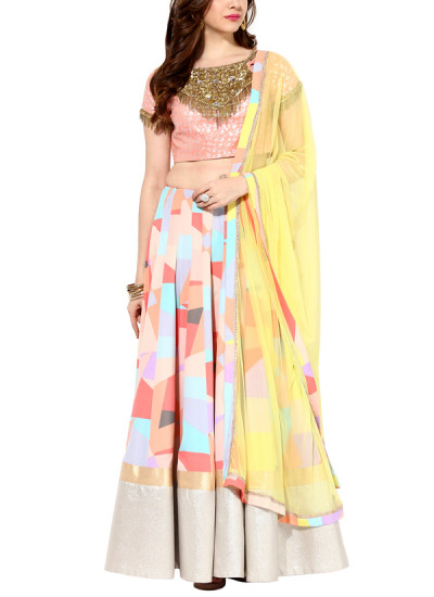Indian Fashion Designers - House Of Trove - Contemporary Indian Designer - Lehangas - HT-AW15-L003 - Trendy Geometric Pop Lehenga