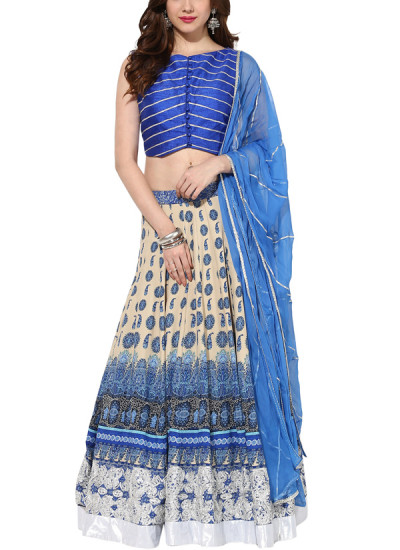Indian Fashion Designers - House Of Trove - Contemporary Indian Designer - Lehangas - HT-AW15-L013 - Indigo Crescent Lehenga